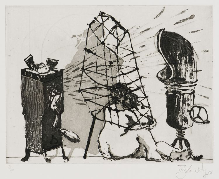 William Kentridge; Caged Woman, from Give and Take series