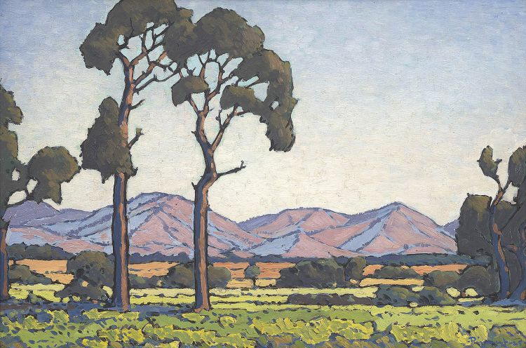 Jacob Hendrik Pierneef; Tall Trees in a Mountain Landscape