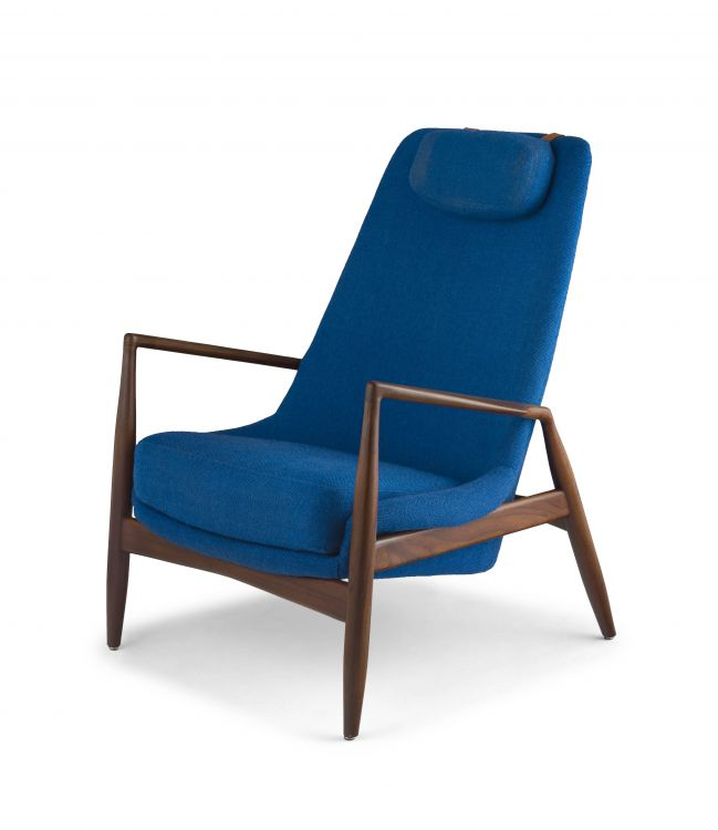 A Swedish afrormosia and wool model 800 'Highback Seal' chair designed in 1956 by Ib Kofod-Larsen for Olof Persson Möbler (OPE)