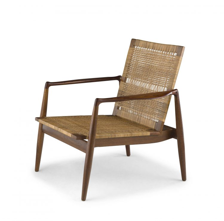 A Danish teak, oak and caned 'SW 96' easy chair designed in 1956 by Finn Juhl for Søren Willadsens Møbelfabrik