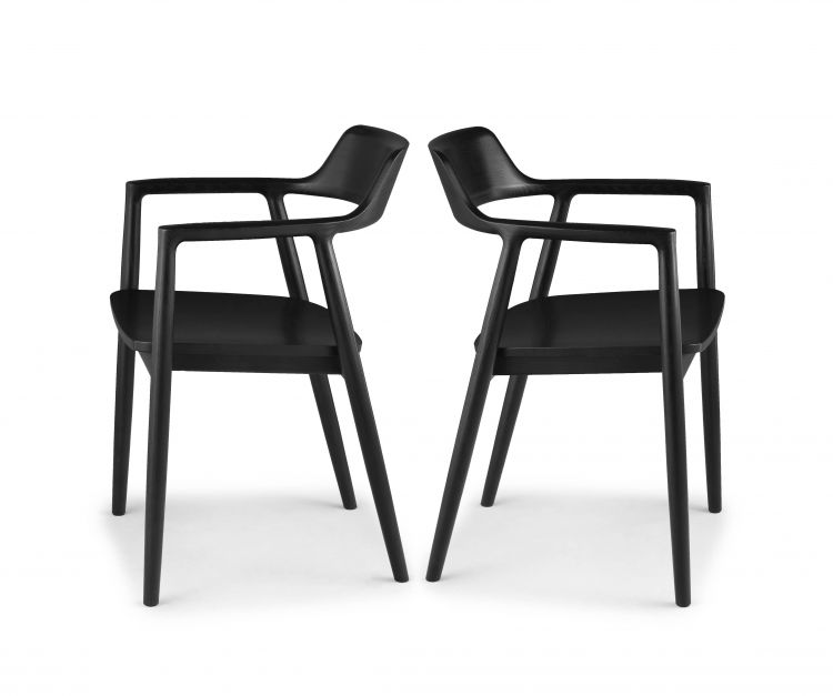 A pair of Japanese ebonised 'Hiroshima' armchairs designed in 2008 by Naoto Fukasawa for Maruni