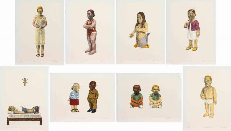 Claudette Schreuders; Eight Lithographs (Burnt by the Sun, Owner of Two Swimsuits, The Lost Girl, Mingle, Sunstroke, Conversation, Twins, Melancholy Boy)