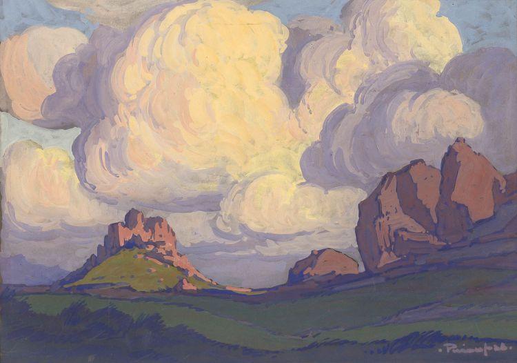 Jacob Hendrik Pierneef; Landscape with Rocky Outcrop