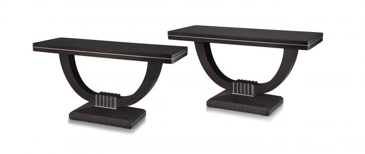 A pair of Macassar ebony and rosewood console tables, David Linley, modern