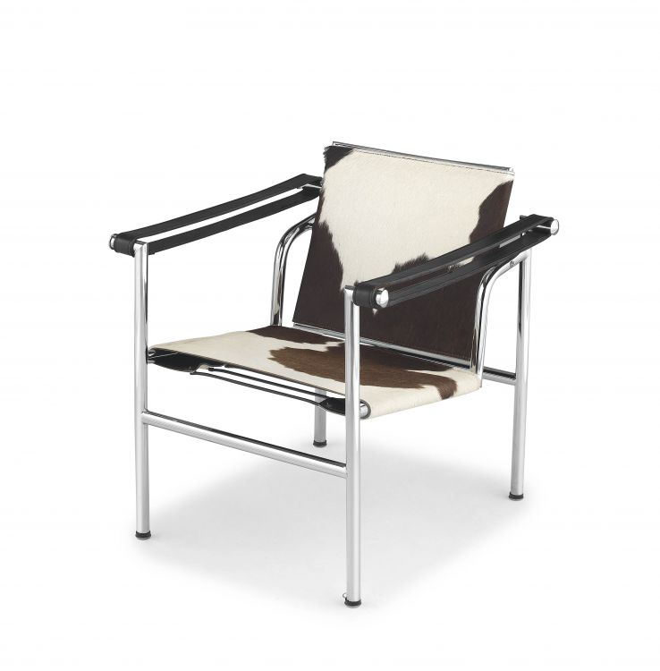 An LC1 cowhide and chrome armchair designed in 1928 by Le Corbusier, Pierre Jeannert and Charlotte Periand