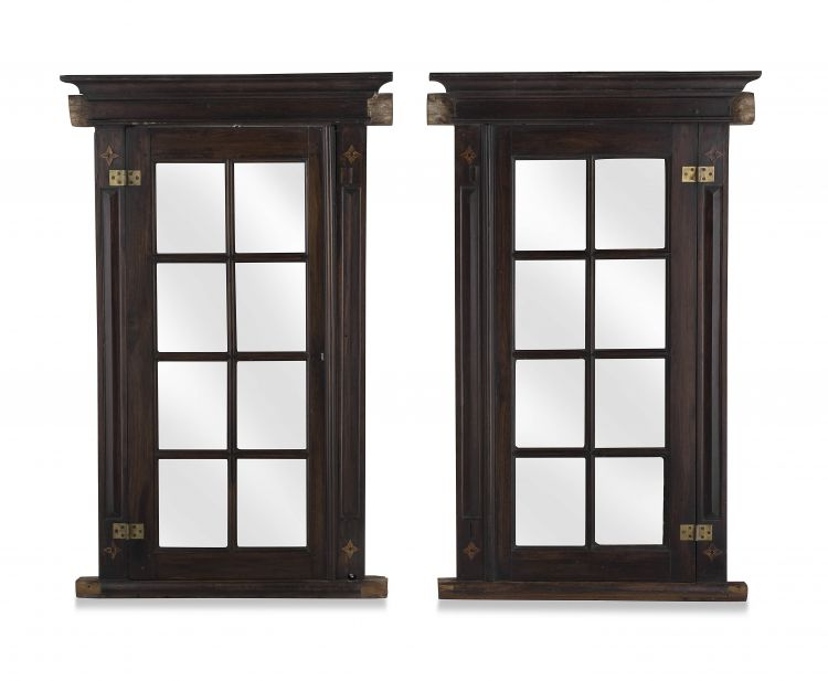 A pair of South Western Cape stinkwood and inlaid wall cupboards, 19th century