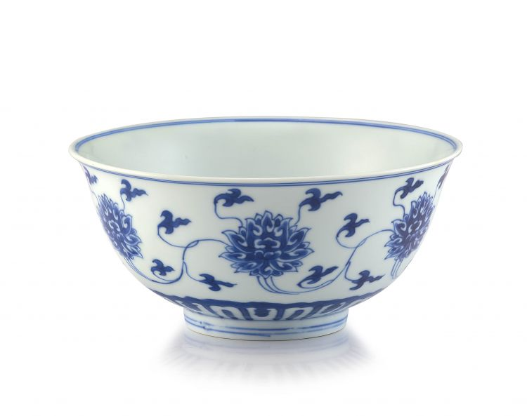 A fine Chinese blue and white 'Lotus' bowl, Kangxi six-character mark and period, 1662-1722
