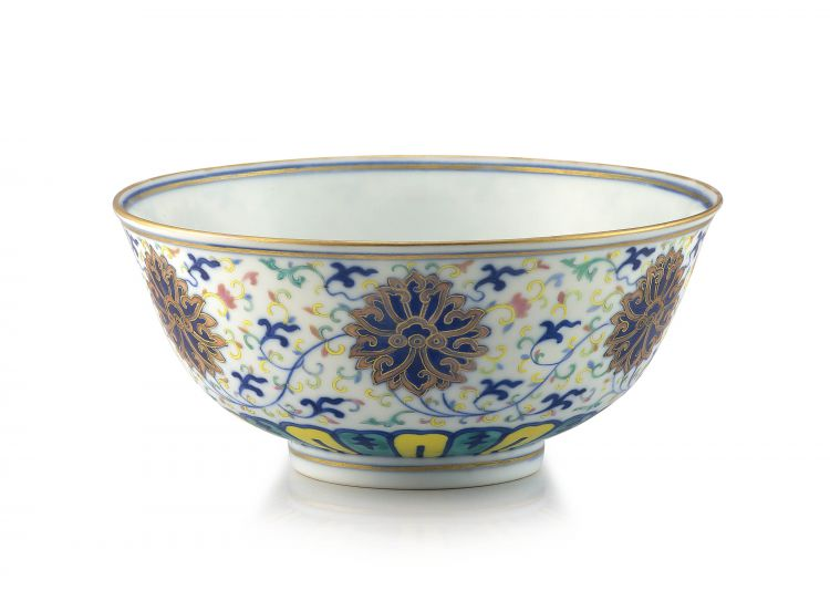 A Chinese polychrome enamel 'lotus scroll' bowl, Guangxu mark and period, 1875-1908