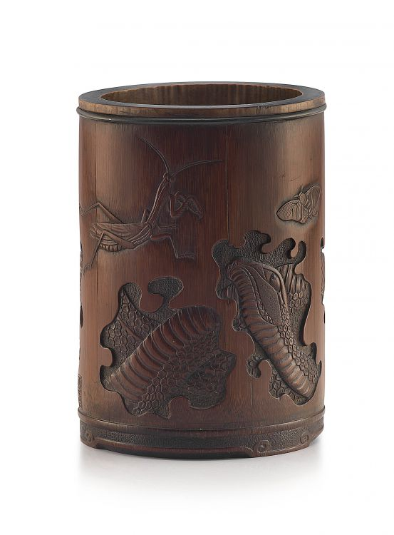 A Chinese carved bamboo brushpot, Bitong, 19th century