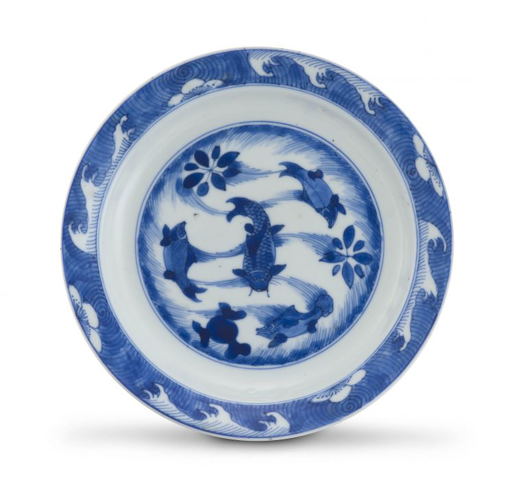 A Chinese blue and white saucer dish, Kangxi period, late 17th century