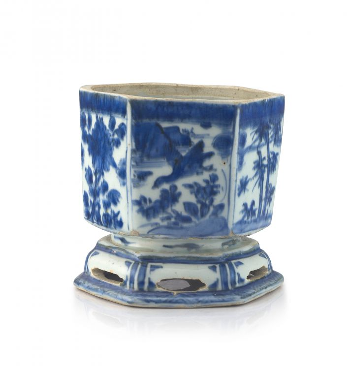 A Chinese blue and white faceted stem bowl, late Ming Dynasty, Wanli period, 1573-1819