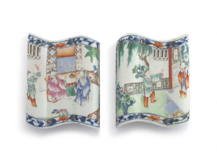 A pair of unusual Chinese famille-rose wall vases, Jiaqing period, 1796-1820