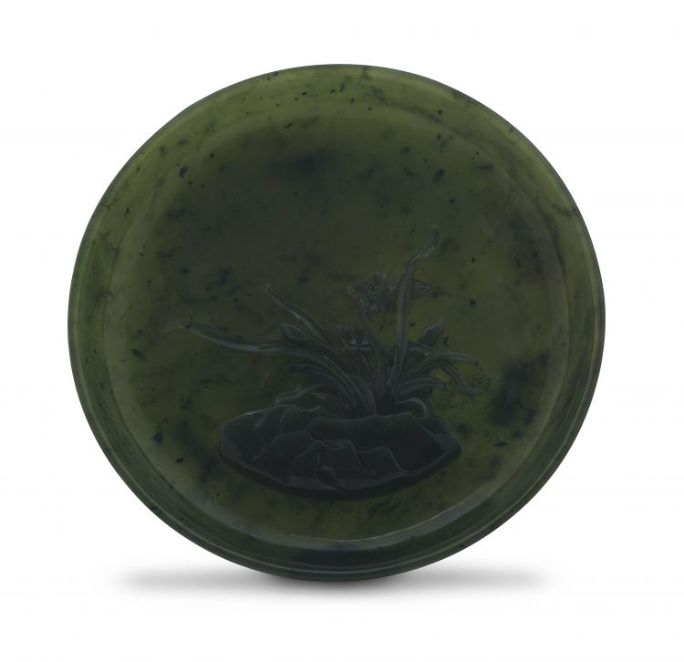 A Chinese spinach-green jade dish, Qing Dynasty, 19th century