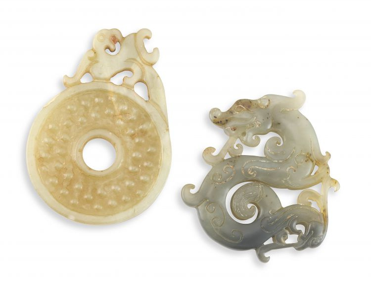 A Chinese yellow celadon jade 'archaistic' Bi disc, Qing Dynasty, 19th century