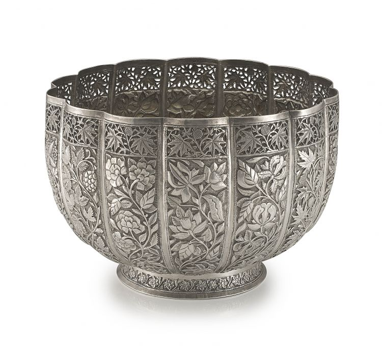 An Indian silver bowl, Kashmir, Srinagar, late 19th century