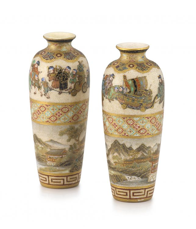 A pair of Japanese Satsuma miniature vases by Meizan, Meiji period, 1868-1912