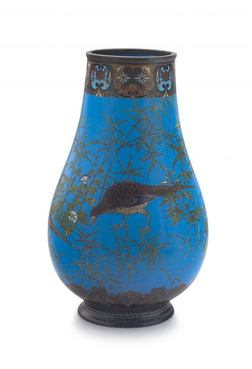 A Japanese cloisonné enamel vase, Meiji period, 1868-1912
