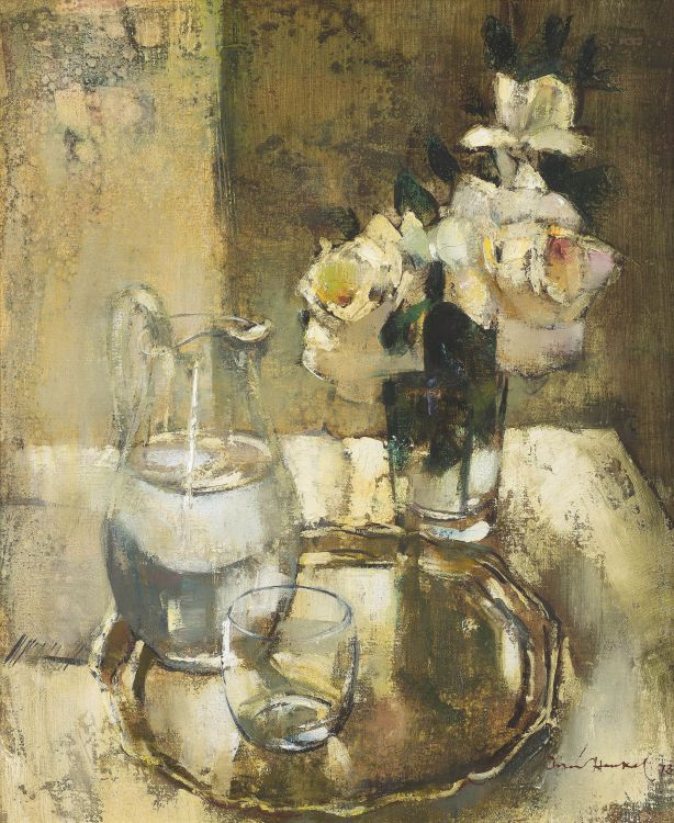 Irmin Henkel; Still Life with Water Jug and Roses