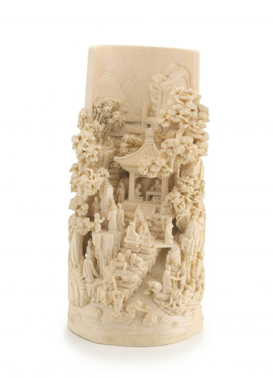 A Chinese carved ivory panel, Qing Dynasty, 19th century