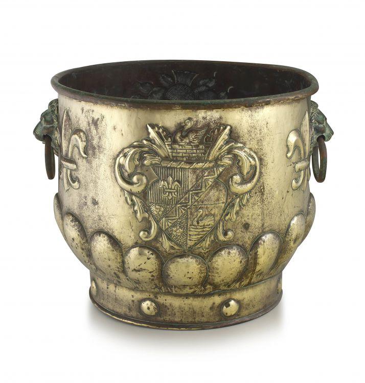 A brass coal bucket