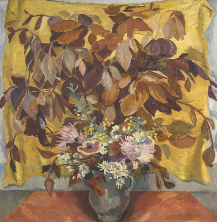Maud Sumner; Leaves and Flowers in a Grey Jug