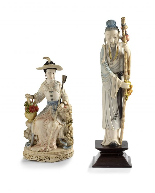 A Chinese stained ivory carved figure of a gardener, 20th century