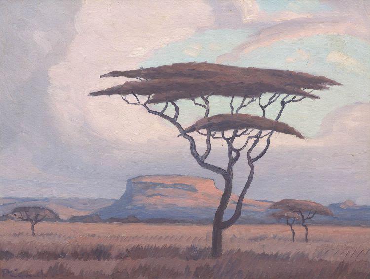 Jacob Hendrik Pierneef; Landscape with Acacia Tree