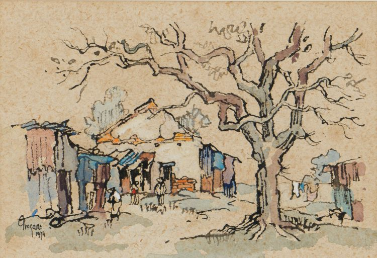 Gregoire Boonzaier; Scene with Dwellings and Tree
