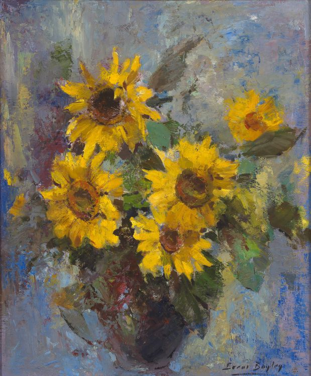 Errol Boyley; Still Life with Vase of Sunflowers