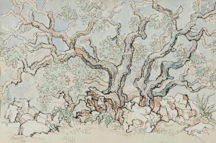 Gregoire Boonzaier; Twee Melkhoutbome en Rotse (Two Milkwood Trees and Rocks)