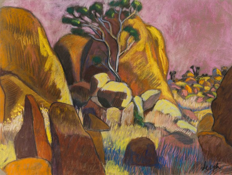 Nicky Leigh; Malolotja Rocks (Swaziland), Sunset, recto; Landscape with Pawpaw Trees, Unfinished, verso