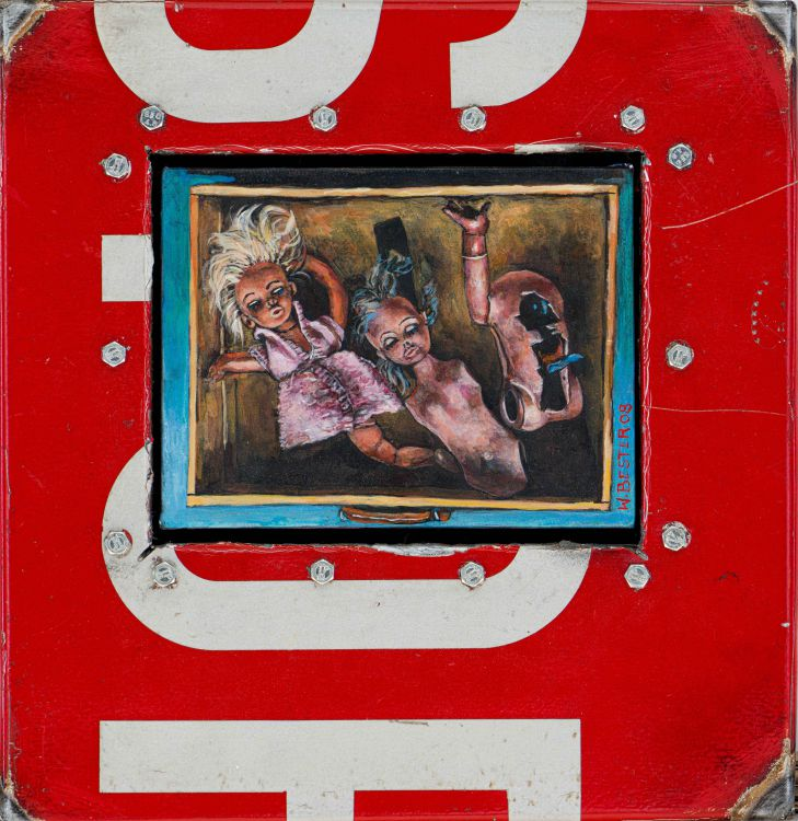 Willie Bester; Stop Sign with Dolls