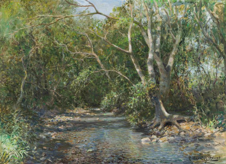 Cecil Thornley Stewart; Stream with Trees