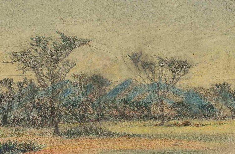 Carl Ossmann; Landscape with Mountains and Trees