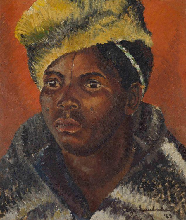 Elza Laubscher; Portrait of a Man in a Blanket