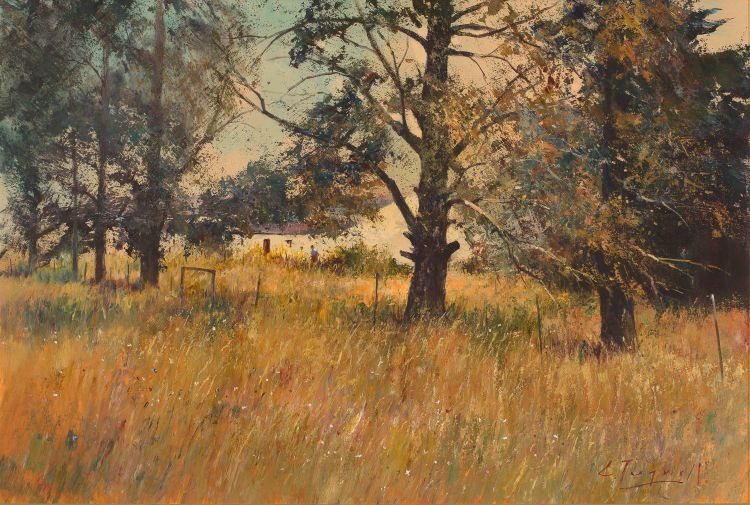 Christopher Tugwell; Farmstead Through the Trees