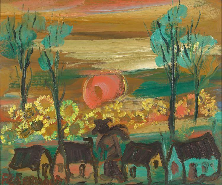 Frans Claerhout; Harvester at Sunset