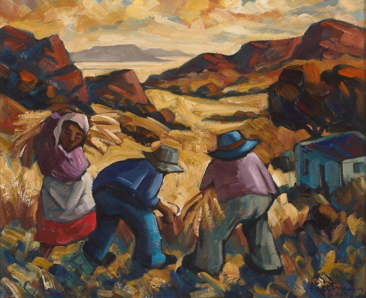 Hennie Niemann Snr; Harvesters in a Mountainous Landscape