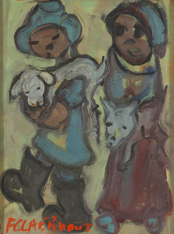 Frans Claerhout; Couple Carrying Lambs