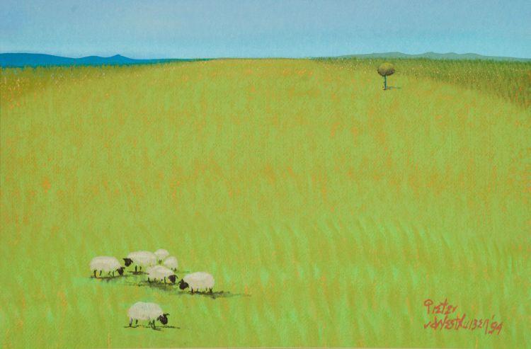 Pieter van der Westhuizen; Landscape with Sheep