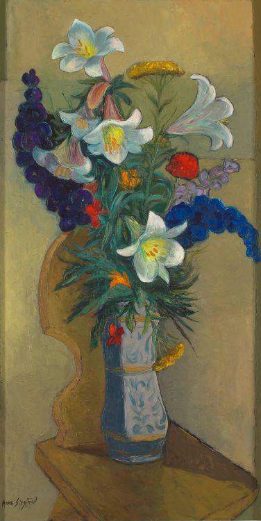 Arne Siegfried; Lilies and Delphiniums in a Vase