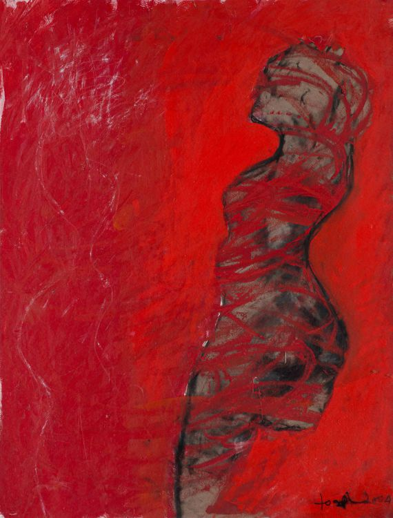 Helen Joseph; Standing Nude with Red Field