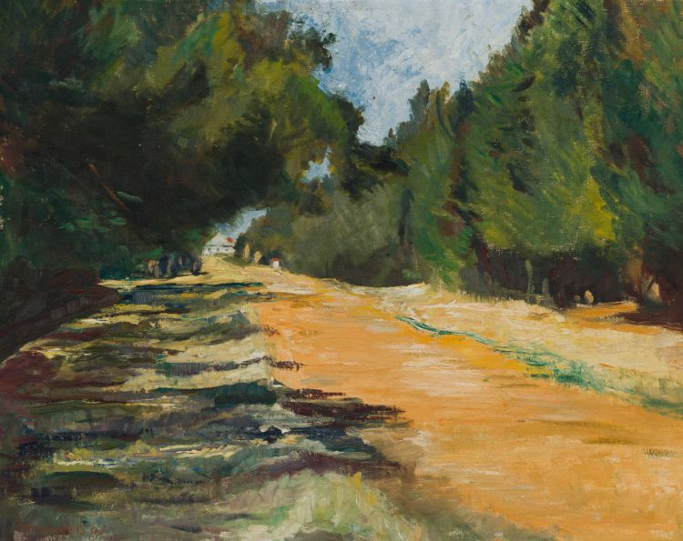 Florence Zerffi; Landscape with Tree-lined Road