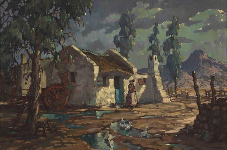 Nils Andersen; Cottage with Figure