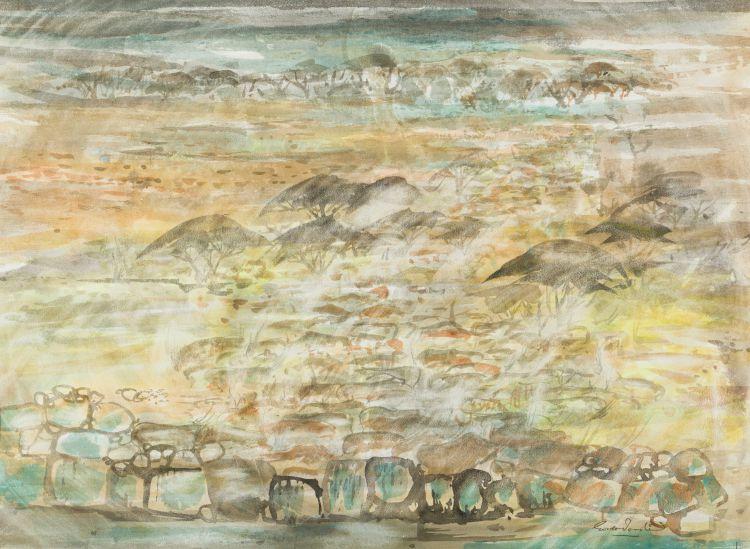Gordon Vorster; Landscape with Antelope