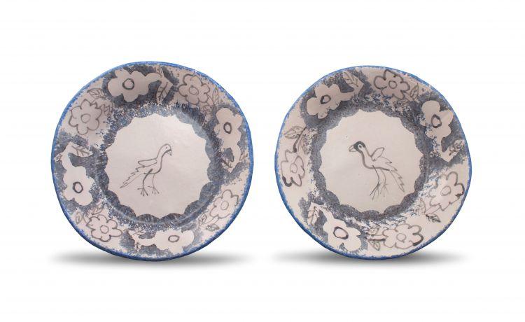 Hylton Nel; Bird Plates, a pair