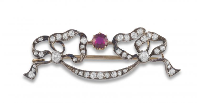 Victorian diamond and ruby brooch