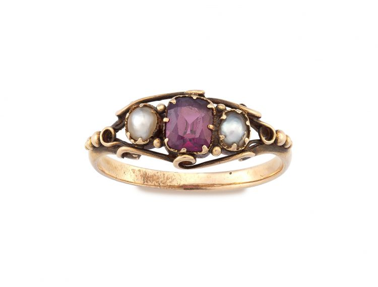 Ruby and pearl ring, 19th century