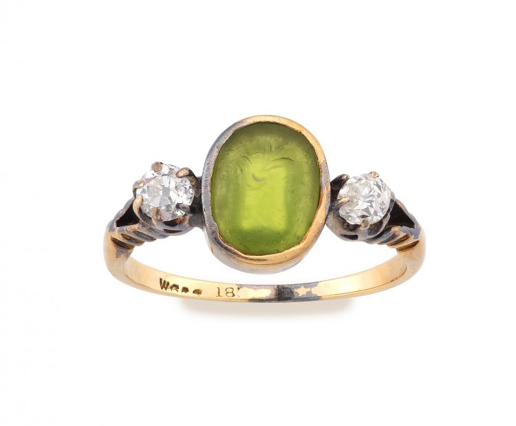 Carved green glass intaglio and diamond ring, 19th century