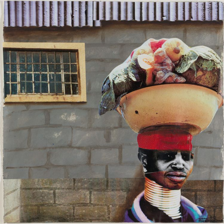 Sam Nhlengethwa; Woman with Basin of Vegetables on her Head